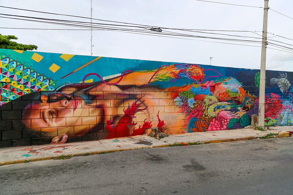 Street art Cozumel, Mexico, by artist Osel. Photo by 1xrun.com