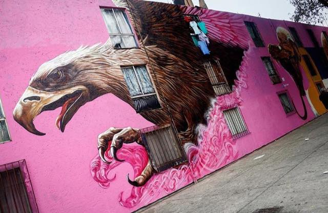 Street art in Mexico City, Mexico, by artist Montalvo. Photo by SAChilango