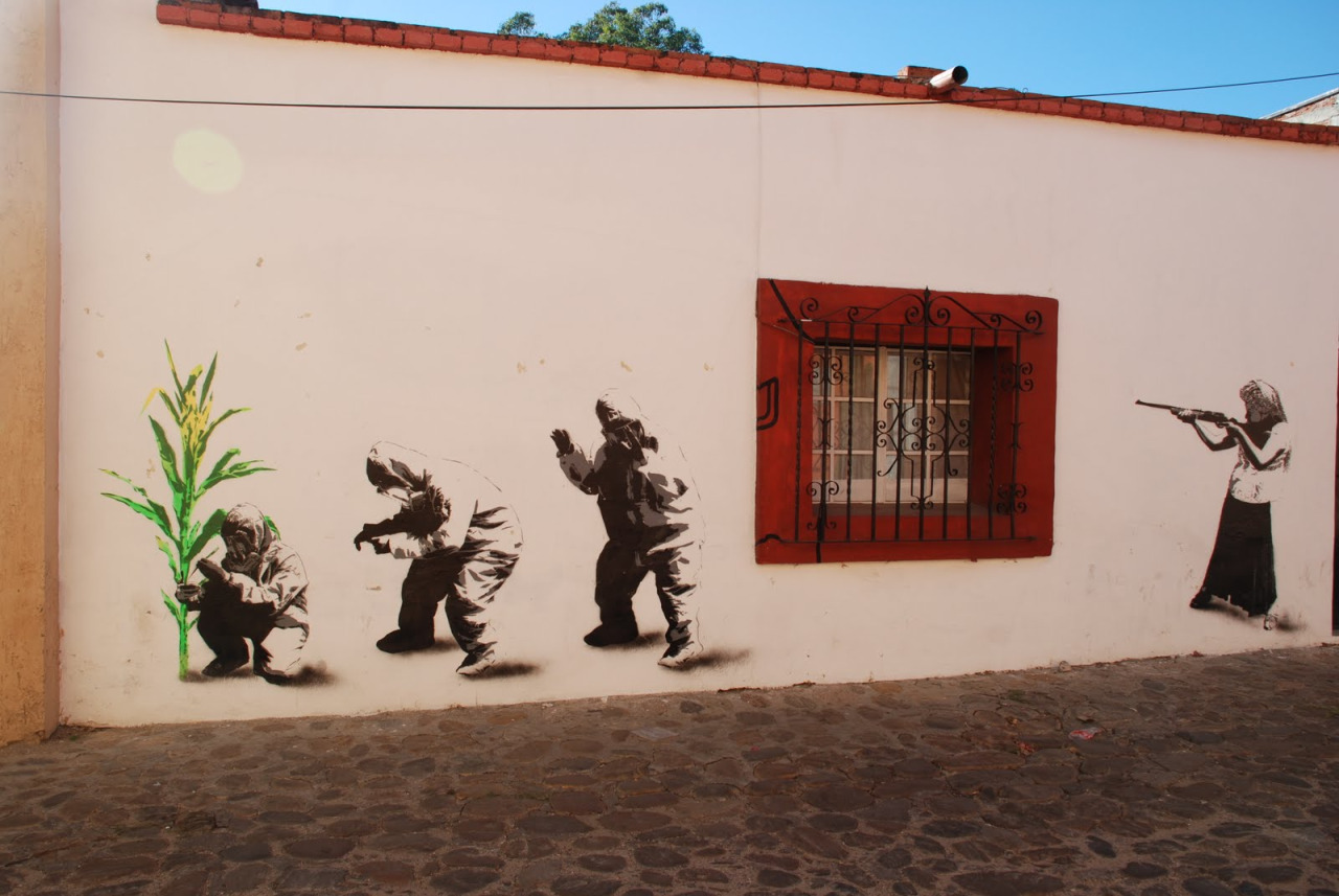 Street art in Mexico by artist Lapiztola.