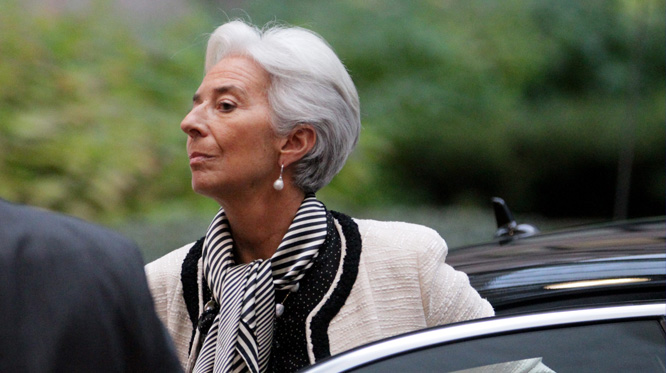 epa03479477 International Monetary Fund (IMF) Managing Director Christine Lagarde arrives at the Euro Group finance ministers council at the EU headquarters in Brussels, Belgium, 20 November 2012. Eurozone finance ministers late Tuesday downplayed expectations that they would be able to strike a definite deal on Greece's bailout, as they gathered in Brussels for a meeting expected to release a new aid tranche. A major issue to be settled is how to bridge a 32.6-billion-euro (41.7-billion-dollar) gap in Greece's bailout, which was created after the ministers last week agreed to give the country two extra years to nurse its finances back to health. EPA/OLIVIER HOSLET