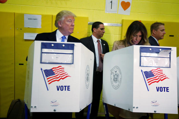 Republican presidential nominee Donald Trump and his wife Melania Trump vote at PS 59 in New York, New York, U.S. November 8, 2016.   REUTERS/Carlo Allegri     TPX IMAGES OF THE DAY